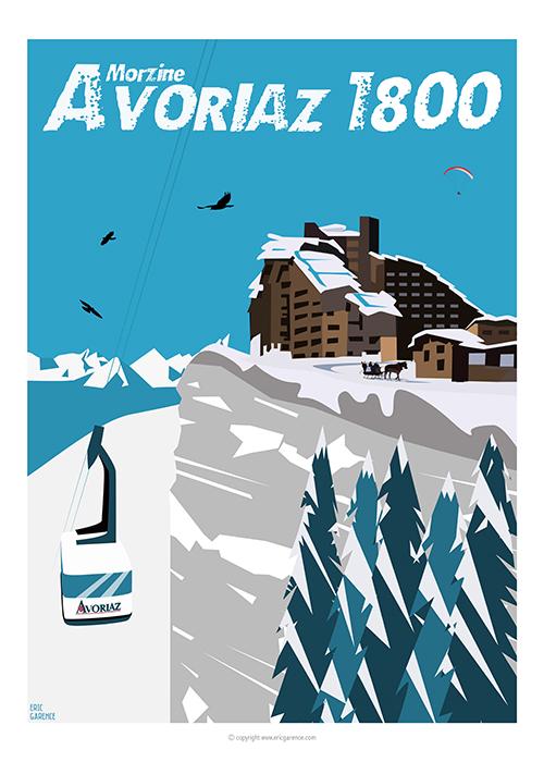 morzine Avoriaz Art Affiche Poster Galerie Eric Garence bonjourlaffiche.com affiche vintage Porte du soleil