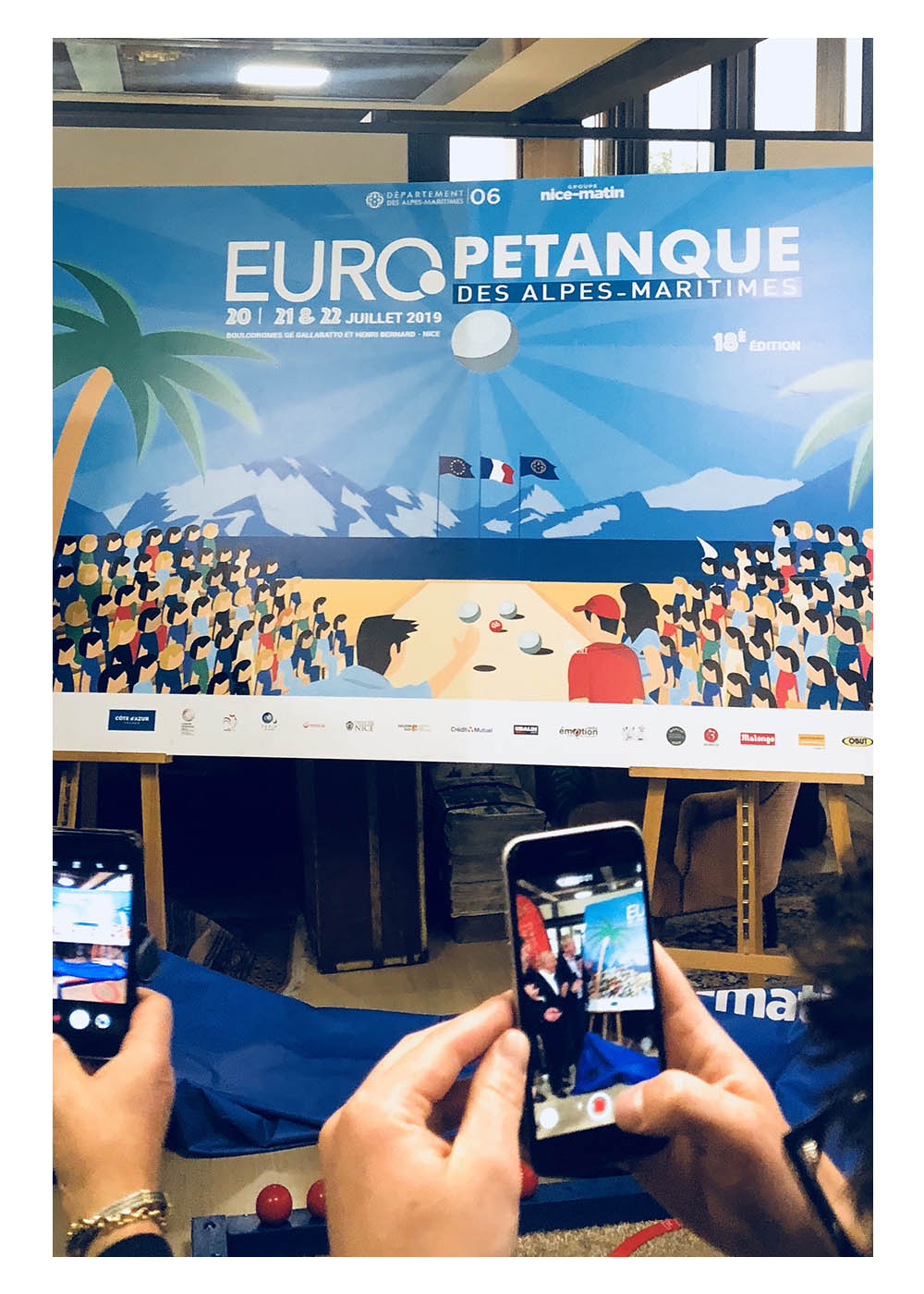 Europétanque, Nice Matin, Affiche Eric Garence 18eme édition Conseil Départemental Alpes Maritimes Pastorino Ciotti Ginesy Nardelli Boulisterie Affiche